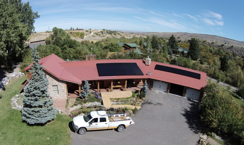 Residential solar panel rooftop installation to illustrate possibilities in Laramie, Wyoming.